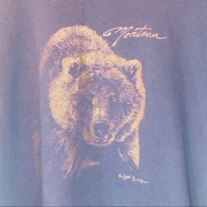 Vtg Montana Grizzly Bear Graphic Tee Blue Medium